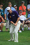 Lee Westwood (ENG) chipping onto the 10th green on day 1 of the World Golf Championship Bridgestone Invitational, from Firestone Country Club, Akron, Ohio. 4/8/11.Picture Fran Caffrey www.golffile.ie