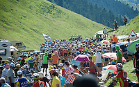 The last grupetto, lead by André Greipel (DEU/Lotto-Soudal), crossing the last mountain climb of the day; the Col de Peyresourde (1569m/7.1km at 7.8%)<br /> <br /> stage 8: Pau - Bagnères-de-Luchon, 184km<br /> 103rd Tour de France 2016