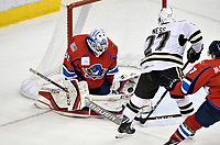 HERSHEY, PA - DECEMBER 01: Springfield Thunderbirds goalie Samuel Montembeault (33) makes a save on Hershey Bears defenseman Aaron Ness (27) during the Springfield Thunderbirds at Hershey Bears on December 1, 2018 at the Giant Center in Hershey, PA. (Photo by Randy Litzinger/Icon Sportswire)
