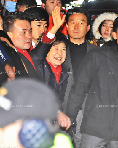 Seoul, South Korea, December 19, 2012 : South Korean President-elect Park Geun-Hye waves to her supporters after she declared the winner of the presidential elections at the Saenuri Party's headquarters in Seoul, South Korea on Wednesday,  December 19, 2012. (Photo by AFLO)