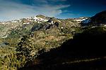 Overlooking alpine basin and Grass Lake, Desolation Wilderness, High Sierra, near Lake Tahoe, California
