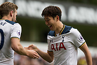 Son Heung-Min of Tottenham Hotspur celebrates scoring his side's second goal with Harry Kane during the Premier League match between Tottenham Hotspur and Bournemouth at White Hart Lane, London, England on 15 April 2017. Photo by Mark  Hawkins / PRiME Media Images.
