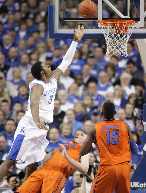 UK sophomore forward Terrence Jones puts up a finger-roll while getting a charge during the first half of UK's home game against Florida at Rupp Arena in Lexington, Ky. Feb. 7, 2012. Photo by Brandon Goodwin | Staff