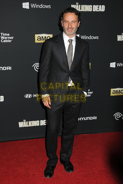 Andrew Lincoln<br /> &quot;The Walking Dead&quot; 4th Season Premiere held at the AMC Universal Citywalk Stadium 19 Theatre, Universal City, California, USA, <br /> 3rd October 2013.<br /> full length hand in pocket grey gray beard facial hair suit tie <br /> CAP/ADM/BP<br /> &copy;Byron Purvis/AdMedia/Capital Pictures