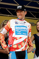 Jason McCartney, of the Discovery Channel Pro Cycling Team, celebrates after taking the jersey for King of the Mountains in the Ford Tour de Georgia. Floyd Landis of Phonak Hearing Systems took first in the six-stage Tour de Georgia.<br />