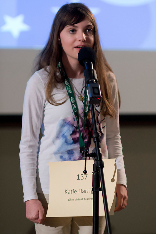 Katie Harrigan of Ohio Virtual Academy introduces herself during the Southeastern Ohio Regional Spelling Bee Regional Saturday, March 16, 2013. The Regional Spelling Bee was sponsored by Ohio University's Scripps College of Communication and held in Margaret M. Walter Hall on OU's main campus.