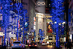 Blue Grotto Shibuya illuminations on display along Koen Dori on November 22, 2017, Tokyo, Japan. Thousands of blue LED lights turn the streets from Yoyogi Park to Koen Dori into a 800-meter cave. The event runs til December 31, 2017. (Photo by Rodrigo Reyes Marin/AFLO)