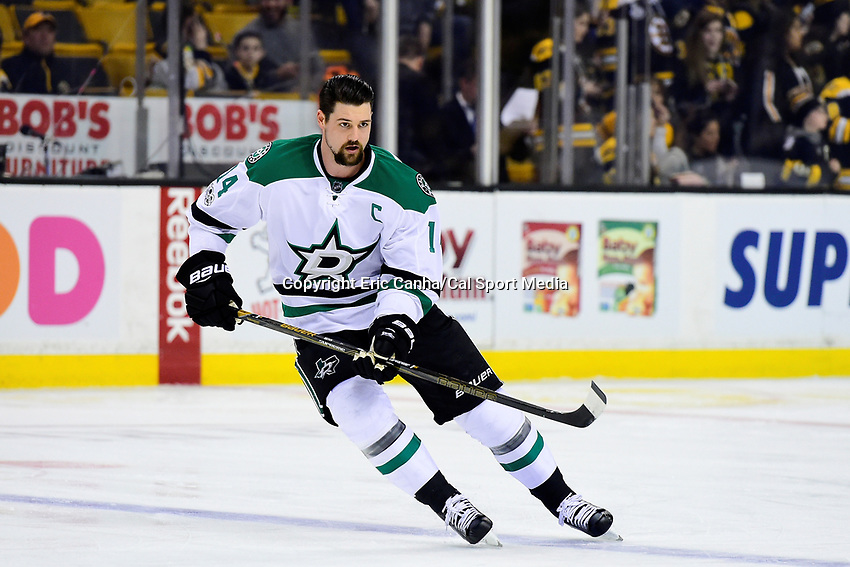 Thursday, March 30, 2017: Dallas Stars left wing Jamie Benn (14) warms up before National Hockey League game between the Dallas Stars and the Boston Bruins held at TD Garden, in Boston, Mass. Boston defeats Dallas 2-0. Eric Canha/CSM