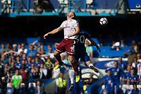 Burnley's Sam Vokes wins a flick on header<br /> <br /> Photographer Craig Mercer/CameraSport<br /> <br /> The Premier League - Chelsea v Burnley - Saturday August 12th 2017 - Stamford Bridge - London<br /> <br /> World Copyright &copy; 2017 CameraSport. All rights reserved. 43 Linden Ave. Countesthorpe. Leicester. England. LE8 5PG - Tel: +44 (0) 116 277 4147 - admin@camerasport.com - www.camerasport.com