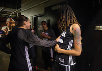Jun. 10, 2013; Phoenix, AZ, USA: Phoenix Mercury center Brittney Griner (right) jokes with teammate Diana Taurasi during a team practice at the US Airways Center. Mandatory Credit: Mark J. Rebilas-