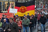 Luxemburg-Liebknecht-Demonstration 2011<br /> Am Sonntag den 9. Januar versammelten sich mehrere 10.000 Menschen zu einer Gedenkdemonstration um der ermordeten Kommunistenfuehrer Rosa Luxemburg und Karl Liebknecht zu gedenken. Die Demonstration fuehrte zu dem Friedhof Friedrichsfelde in Berlin-Lichtenberg zur Gedenkstaette der Sozialisten.<br /> 9.1.2011, Berlin<br /> Copyright: Christian-Ditsch.de<br /> [Inhaltsveraendernde Manipulation des Fotos nur nach ausdruecklicher Genehmigung des Fotografen. Vereinbarungen ueber Abtretung von Persoenlichkeitsrechten/Model Release der abgebildeten Person/Personen liegen nicht vor. NO MODEL RELEASE! Don't publish without copyright Christian-Ditsch.de, Veroeffentlichung nur mit Fotografennennung, sowie gegen Honorar, MwSt. und Beleg. Konto:, I N G - D i B a, IBAN DE58500105175400192269, BIC INGDDEFFXXX, Kontakt: post@christian-ditsch.de]