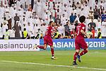 Hamid Ismaeil Khaleefa of Qatar (L) celebrating his score during the AFC Asian Cup UAE 2019 Semi Finals match between Qatar (QAT) and United Arab Emirates (UAE) at Mohammed Bin Zaied Stadium  on 29 January 2019 in Abu Dhabi, United Arab Emirates. Photo by Marcio Rodrigo Machado / Power Sport Images