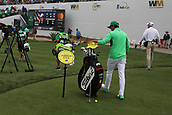 "February 2nd 2019, Scottsdale, Arizona, USA; Rickie Fowler touches a ""shrine"" to Jarrod Lyle  for good luck on the sixteenth hole during the third round of the Waste Management Phoenix Open on February 02, 2019, at TPC Scottsdale in Scottsdale, AZ."