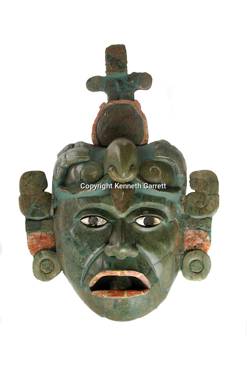 Maya Rise and Fall,Museo Nacional de Arquelogia y Ethnologia, Ministerio de Cultura y Deportes, Guatemala, Guatemala City, Jadeite and shell funerary mask, Classic period, Tikal