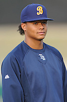 Montgomery Biscuits Chris Archer #35 lines up for the team introductions before a game against  the Tennessee Smokies at Smokies Park in Kodak,  Tennessee;  April 13, 2011.  Tennessee defeated Montgomery 12-2.  Photo By Tony Farlow/Four Seam Images