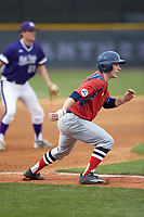 Jesse Uttendorfer (2) of the NJIT Highlanders takes his lead off of third base against the High Point Panthers at Williard Stadium on February 18, 2017 in High Point, North Carolina. The Highlanders defeated the Panthers 4-2 in game two of a double-header. (Brian Westerholt/Four Seam Images)