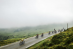 The peloton including Yellow Jersey Julian Alaphilippe (FRA) Deceuninck-Quick Step descend the Col du Soulor during Stage 14 of the 2019 Tour de France running 117.5km from Tarbes to Tourmalet Bareges, France. 20th July 2019.<br /> Picture: ASO/Pauline Ballet | Cyclefile<br /> All photos usage must carry mandatory copyright credit (© Cyclefile | ASO/Pauline Ballet)