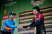 2nd Alejandro Valverde (ESP/Movistar) congratulating 3rd finisher Egan Bernal (COL/Ineos) on the podium<br /> <br /> 113th Il Lombardia 2019 (1.UWT)<br /> 1 day race from Bergamo to Como (ITA/243km)<br /> <br /> ©kramon