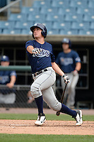 Nick Fortes (4) of DeLand High School in DeLand, Florida playing for the Tampa Bay Rays scout team during the East Coast Pro Showcase on July 30, 2014 at NBT Bank Stadium in Syracuse, New York.  (Mike Janes/Four Seam Images)