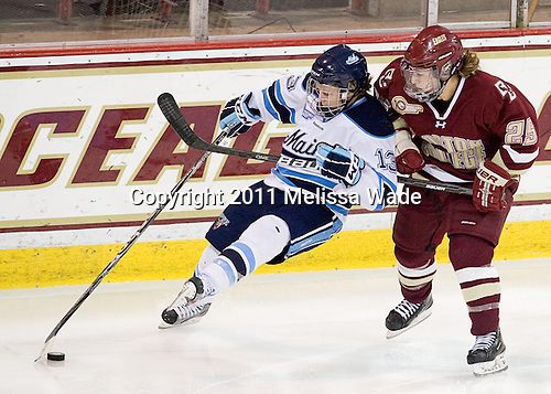 Tori Pasquariello (Maine - 13), Jackie Young (BC - 25) - The visiting University of Maine Black Bears defeated the Boston College Eagles 5-2 on Sunday, October 30, 2011, at Kelley Rink in Conte Forum in Chestnut Hill, Massachusetts.