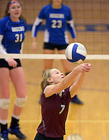 NWA Democrat-Gazette/BEN GOFF @NWABENGOFF<br /> Shaylon Sharp of Siloam Springs makes a dig on Thursday Aug. 27, 2015 during the match at Rogers High.