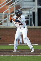 Chuckie Robinson (20) of the Buies Creek Astros at bat against the Winston-Salem Dash at Jim Perry Stadium on August 15, 2018 in Buies Creek, North Carolina.  The Astros defeated the Dash 5-0.  (Brian Westerholt/Four Seam Images)