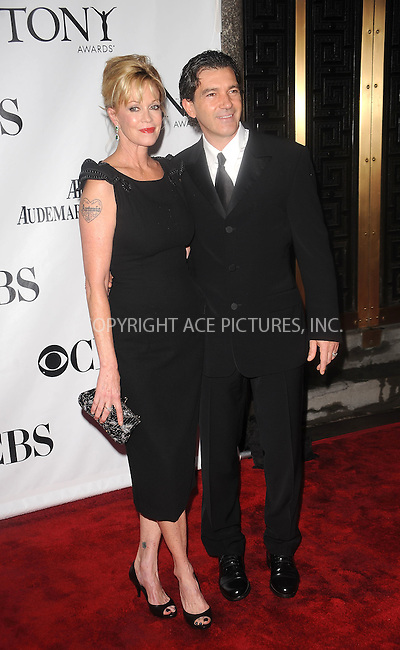 WWW.ACEPIXS.COM . . . . . ....June 13 2010, New York City....Melanie Griffith and Antonio Banderas arriving at the 64th Annual Tony Awards at Radio City Music Hall on June 13, 2010 in New York City. ....Please byline: KRISTIN CALLAHAN - ACEPIXS.COM.. . . . . . ..Ace Pictures, Inc:  ..(212) 243-8787 or (646) 679 0430..e-mail: picturedesk@acepixs.com..web: http://www.acepixs.com
