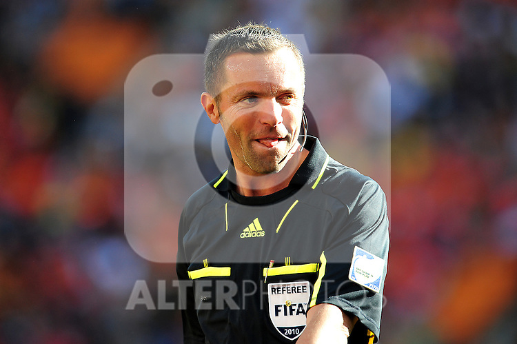 Referee Stephane Lannoy during the 2010 World Cup Soccer match between Denmark and Nederland played at Soccer City Stadium in Johannesburg South Africa on 14 June 2010.