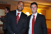 D.C. United defender Robbie Russell left with midfielder Kurt Morsink right,at the United Kickoff luncheon, at the Marriott hotel in Washington DC, March 5, 2012.