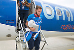 Spartak Trnava v St Johnstone...06.08.14  Europa League Qualifier 3rd Round<br /> Stevie May gets off the plane after arriving in Bratislava.<br /> Picture by Graeme Hart.<br /> Copyright Perthshire Picture Agency<br /> Tel: 01738 623350  Mobile: 07990 594431