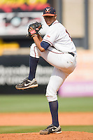 Relief pitcher Branden Kline #16 of the Virginia Cavaliers in action against the Miami Hurricanes at the 2010 ACC Baseball Tournament at NewBridge Bank Park May 29, 2010, in Greensboro, North Carolina.  The Cavaliers defeated the Hurricanes 12-8.  Photo by Brian Westerholt / Four Seam Images