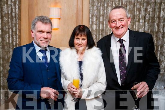 Eric O'Brien (Doon, Tralee) with Anne Devane, Tim Devane (Kielduff, Tralee), enjoying the Lee Strand Social, at Ballygarry House Hotel & Spa, Tralee, on Saturday night last.