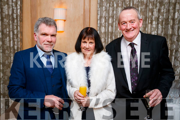 Eric O'Brien (Doon, Tralee) with Anne Devane, Tim Devane (Kielduff, Tralee), enjoying the Lee Strand Social, at Ballygarry House Hotel & Spa, Tralee, on Saturday night last.