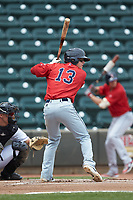 Brett Netzer (13) of the Salem Red Sox at bat against the Winston-Salem Dash at BB&T Ballpark on April 22, 2018 in Winston-Salem, North Carolina.  The Red Sox defeated the Dash 6-4 in 10 innings.  (Brian Westerholt/Four Seam Images)