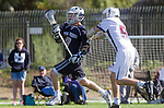 Los Angeles, CA 03/12/16 - Taylor Brundage (Utah State #47) and Jack Braniff (Loyola Marymount #5) in action during the Utah State vs Loyola Marymount MCLA Men's Division I game at Leavey Field at LMU.  Utah State defeated LMU 17-4.