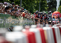 Stefan Kung (SUI/BMC) leading Greg Van Avermaet (BEL/BMC) to Yellow and the team to stage victory.<br /> <br /> Stage 3 (Team Time Trial): Cholet > Cholet (35km)<br /> <br /> 105th Tour de France 2018<br /> ©kramon