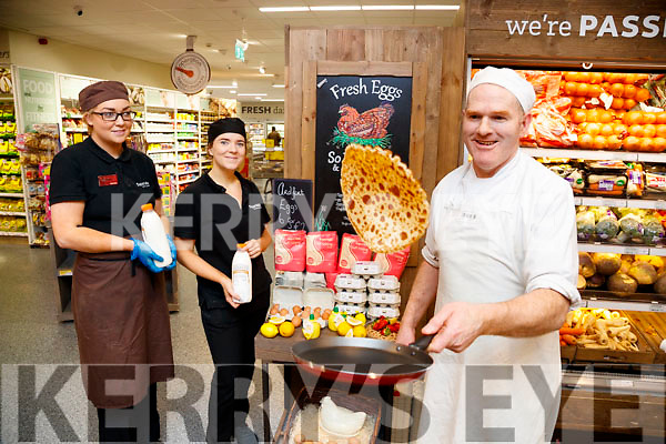 Maria Sugrue, Theresa Lee and Ger Collins, who were on hand to sample some of the freshly made pancakes at Garveys SuperValu, Tralee, on Tuesday last.