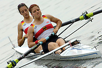 Poznan, POLAND.  2006, FISA, Rowing, World Cup, GER W2-, Bow  Nicole  ZIMMERMANN  and Kate HIPLER, move  away from  the  start, on the Malta  Lake. Regatta Course, Poznan, Thurs. 15.05.2006. © Peter Spurrier   .[Mandatory Credit Peter Spurrier/ Intersport Images] Rowing Course:Malta Rowing Course, Poznan, POLAND