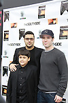 "Gregori J. Martin (producer, director and wrote film) poses with stars of the film - son and Kristos Andrews at The private Industry Screening of ""The Southside"", A Lany Film Tribute to Robert Areizaga, Jr. on February 27, 2012 at Tribeca Cinemas, New York City, New York.  (Photo by Sue Coflin/Max Photos)"