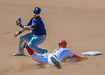 24 July 2016: San Diego Padres infielder Ryan Schimpf attempts to get a sliding Trea Turner out at second during action against the Washington Nationals at Nationals Park in Washington, DC. The Padres defeated the Nationals 10-6 to take the rubber match of their 3-game, weekend series. Mandatory Credit: Ed Wolfstein Photo *** RAW (NEF) Image File Available ***