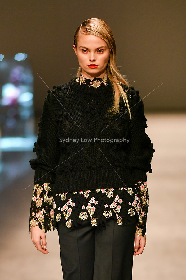 8 September 2017, Melbourne - A model wearing a design by Macgraw at the Closing Runway parade during the Melbourne Fashion Week in Melbourne, Australia. (Photo Sydney Low / asteriskimages.com)