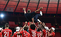 04.07.2020, Fussball DFB Pokal Finale, Bayer 04 Leverkusen - FC Bayern Muenchen emspor,   Trainer Hans-Dieter Hansi Flick (FC Bayern Muenchen) wird hochgeworfen<br /> Foto: Kevin Voigt/Jan Huebner/Pool/Marc Schueler/Sportpics.de<br /> <br /> (DFL/DFB REGULATIONS PROHIBIT ANY USE OF PHOTOGRAPHS as IMAGE SEQUENCES and/or QUASI-VIDEO - Editorial Use ONLY, National and International News Agencies OUT)