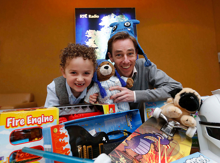 No Repro Fee..Hard Times Don't Dent Christmas Spirit as RTÉ 2fm Toy Appeal Records Record Donations..Pictured here are were Ryan Tubridy and James Costello..Toy donations rise by 9000 for 2012 appeal as a record 65,000 toys are collected. Cash equivalent means over ?1,000,000 worth of toys donated to children in Ireland.Pic: Robbie Reynolds/CPR..