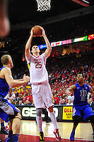 Alex Len of the Terrapins gets a dunk. Maryland defeated Duke 81-83 at the Comcast Center in College Park, MD on Saturday, February 16, 2013. Alan P. Santos/DC Sports Box