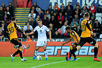 Kristoffer Peterson of Swansea City in action during the Carabao Cup Second Round match between Swansea City and Cambridge United at the Liberty Stadium in Swansea, Wales, UK. Wednesday 28, August 2019.