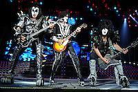 ALBUQUERQUE NM - AUGUST 7:  Gene Simmons, Tommy Thayer and Paul Stanley of Kiss perform at the Hard Rock Casino Albuquerque on August 7, 2012 in Albuquerque, New Mexico. /NortePhoto.com<br /> <br />  **CREDITO*OBLIGATORIO** *No*Venta*A*Terceros*<br /> *No*Sale*So*third* ***No*Se*Permite*Hacer Archivo***No*Sale*So*third*