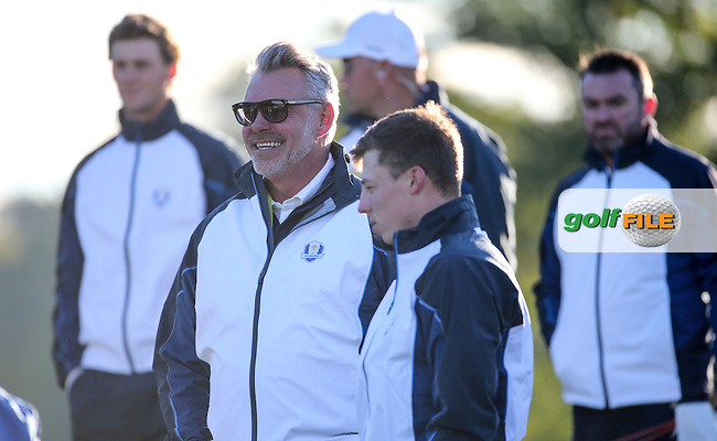 Already smiling is Darren Clarke, Team Europe Ryder Cup Captain,  during the Media Team Photoshoot ahead of The 2016 Ryder Cup, at Hazeltine National Golf Club, Minnesota, USA.  27/09/2016. Picture: David Lloyd | Golffile.