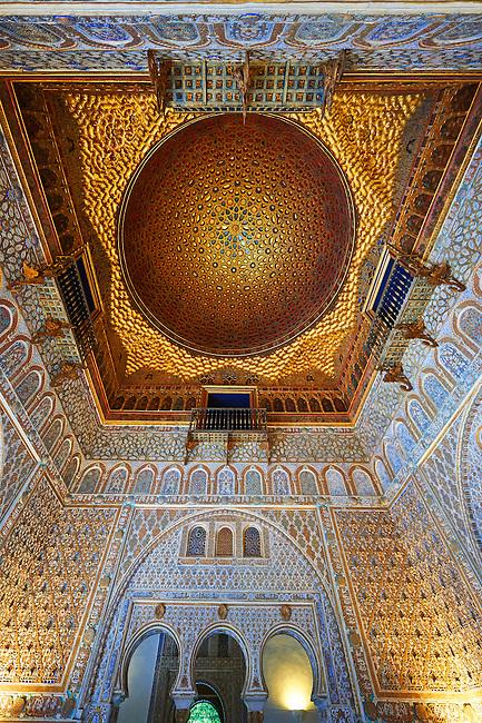Arabesque Mudjar plasterwork of the 12th century roof of the Salón de Embajadores (Ambassadors' Hall or Throne Room). Alcazar of Seville, Seville, Spain
