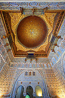 Arabesque Mudjar plasterwork of the 12th century roof of the Salón de Embajadores (Ambassadors' Hall or Throne Room). Alcazar of Seville, Seville, Spain