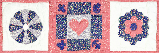 This three block panorama from a small hand-stitched quilt uses three traditional geometric designs with the center having a heart motif and the quadrant corners carrying smaller icons like the cross, anchor, flower, and butterfly. Those little add-ons were likely up to the creator's discretion and also one of the few asymmetrical areas in the piece. The entire quilt contains twelve blocks total with a narrow border. It is country style in traditional needlecraft and an interesting and colorful piece of rustic Americana. The quilt was sewn by my mother over thirty years ago approx late seventies and is kept on display in my home.